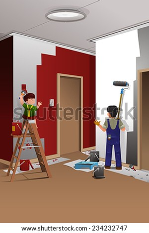 A vector illustration of father and son painting a wall at home together - stock vector