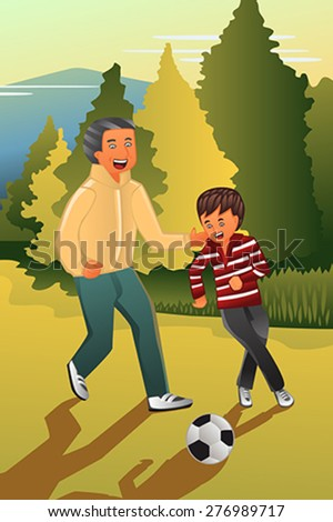 A vector illustration of father playing soccer with his son - stock vector