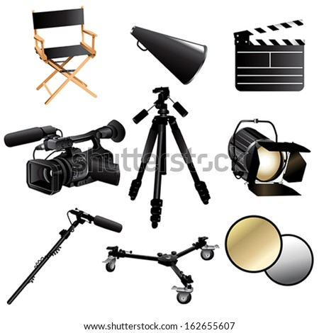 A vector illustration of filming movie icon sets - stock vector