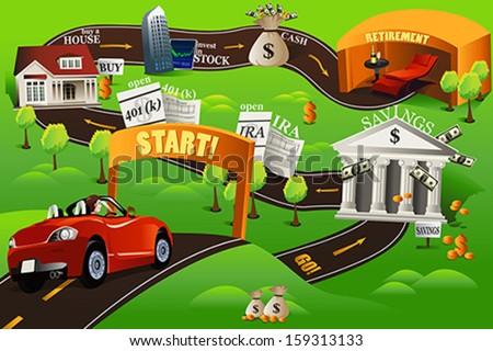 A vector illustration of financial roadmap for financial concept - stock vector