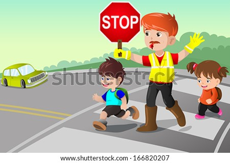 A vector illustration of flagger and kids crossing the street - stock vector