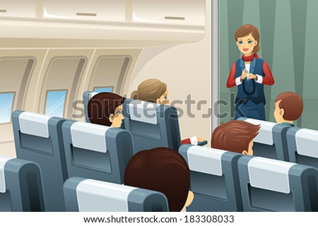 A vector illustration of flight attendant demonstrate how to fasten the seat belt to passengers - stock vector