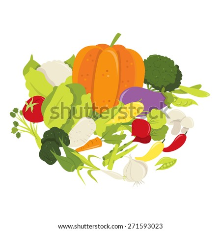 A vector illustration of fresh organic vegetables in a group like cauliflower, broccoli, peas, carrot, green pepper, red pepper, chilli, cabbage, corn, turnip, tomato and herbs. - stock vector