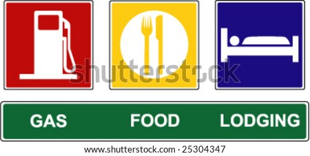 A vector illustration of Gas, Food, and Lodging road signs. - stock vector