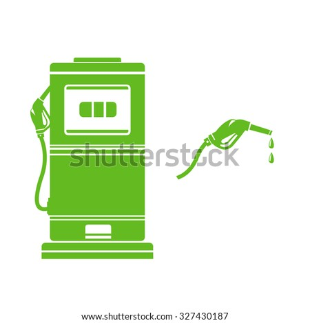 A vector illustration of green eco fuel pump. Icon illustration of green Gas Pump. Petrol Pump - refueling with green energy. - stock vector