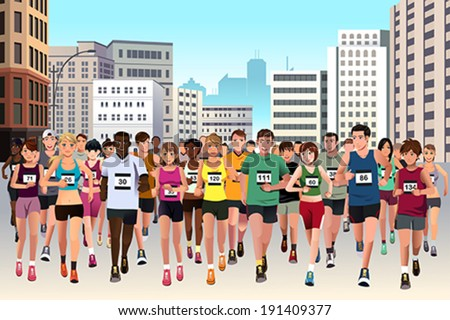A vector illustration of group of marathon athlete running on street - stock vector