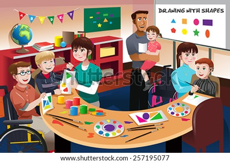 A vector illustration of handicapped students in a classroom  - stock vector