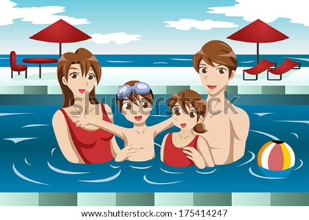 A vector illustration of happy family having fun in a swimming pool - stock vector