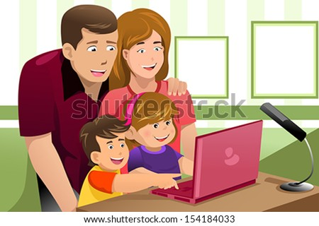 A vector illustration of happy family looking at a laptop - stock vector