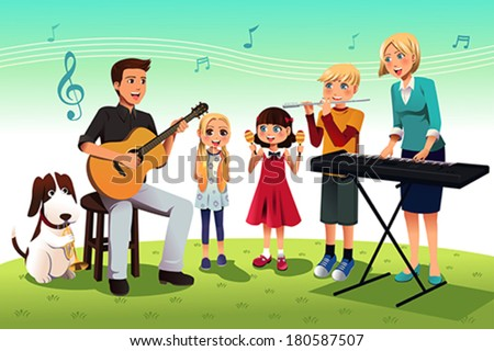 A vector illustration of happy family playing music together - stock vector