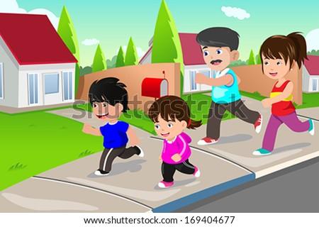 A vector illustration of happy family running outdoor in a suburban neighborhood - stock vector