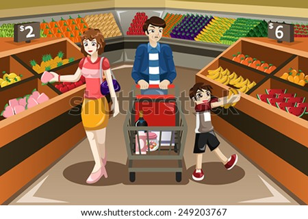 A vector illustration of happy family shopping fruits in a supermarket - stock vector