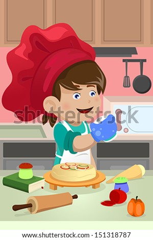 A vector illustration of happy kid cooking in the kitchen - stock vector