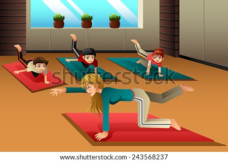 A vector illustration of happy kids in a yoga class - stock vector