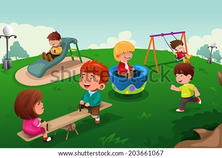 A vector illustration of happy kids paling in the park - stock vector