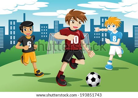 A vector illustration of happy kids playing soccer  - stock vector
