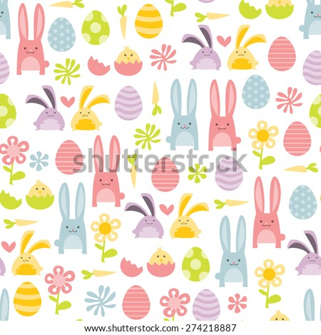 A vector illustration of happy sweet easter filled with easter bunnies and easter eggs seamless pattern background. - stock vector