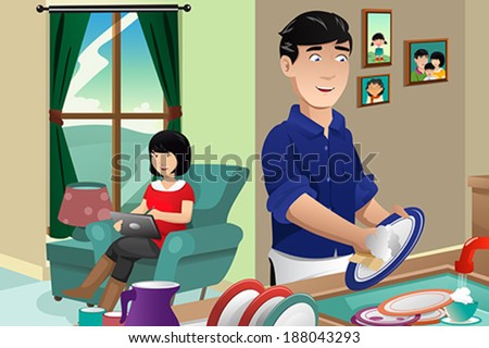 A vector illustration of husband washing dishes while wife using tablet PC - stock vector
