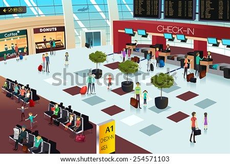 A vector illustration of inside the airport scene - stock vector