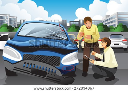A vector illustration of insurance agent assessing a car accident - stock vector