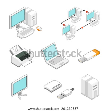 A vector illustration of isometric computer Icons. Computer Icons. Computer Icons. with peripheral devices. - stock vector