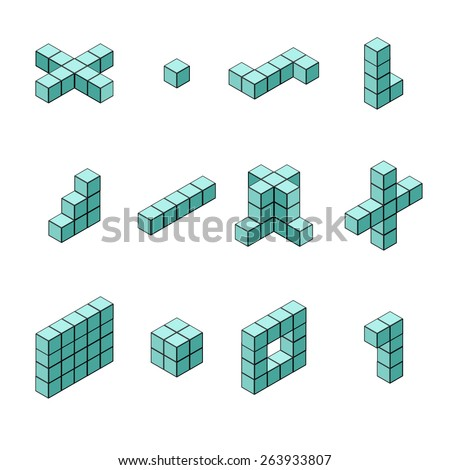 A vector illustration of isometric shapes in different arrangements. Isometric Cubes and shapes. Isometric cubes and square icon set. - stock vector