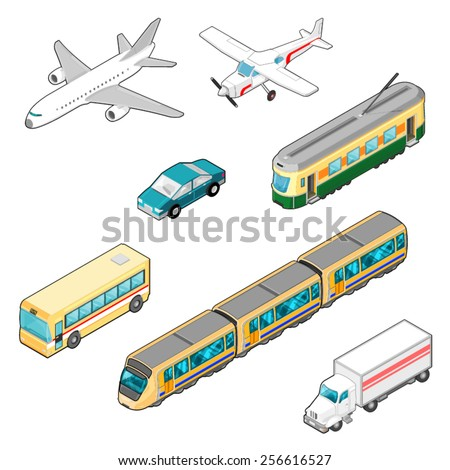 A vector illustration of Isometric Transportation Icons. Isometric Transport Icons. Various modes of transport. - stock vector