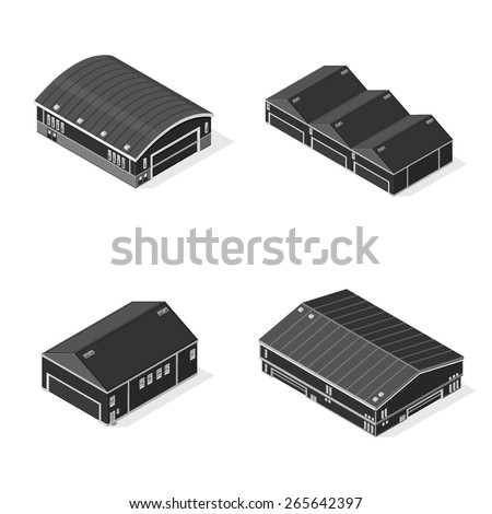 A vector illustration of isometric warehouses or factories.  Isometric Warehouses. Factory and warehouse icons set. - stock vector