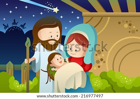 A vector illustration of Joseph, Mary and baby Jesus for nativity concept - stock vector
