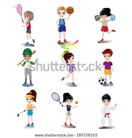 A vector illustration of kids exercising and playing different sports - stock vector