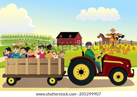 A vector illustration of kids going on a hayride in a farm with corn fields in the background - stock vector