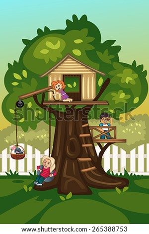 A vector illustration of kids playing in a tree house - stock vector