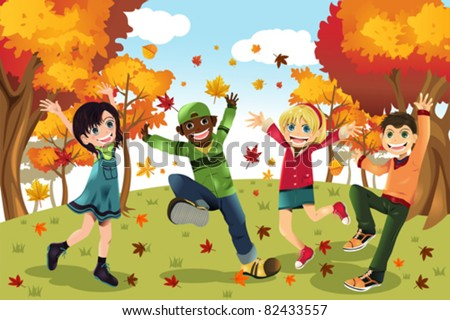 A vector illustration of kids playing outdoor during Autumn or Fall season - stock vector