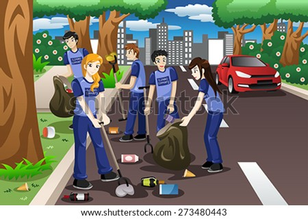 A vector illustration of kids volunteering by cleaning up the road - stock vector