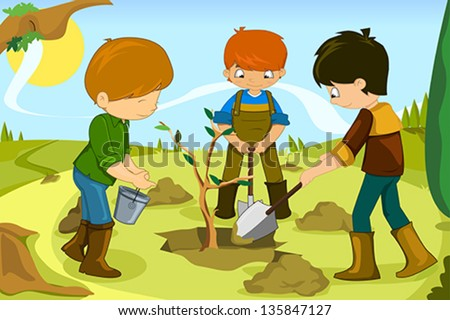 A vector illustration of kids volunteering by planting tree together - stock vector