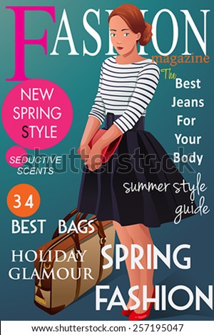 A vector illustration of magazine cover about  spring fashion style - stock vector