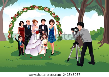 A vector illustration of  man photographing a family in a wedding - stock vector