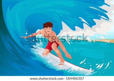 A vector illustration of man surfing on the ocean - stock vector