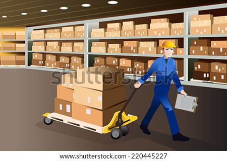 A vector illustration of man working pulling a cart full of boxes in a warehouse - stock vector