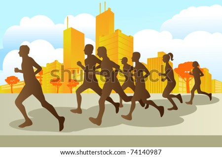 A vector illustration of marathon runners in the city - stock vector