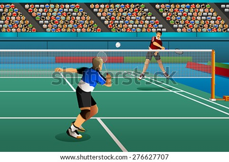 A vector illustration of men playing badminton in the competition for sport competition series - stock vector
