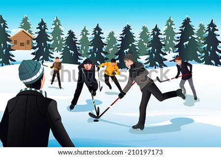 A vector illustration of men playing ice hockey - stock vector