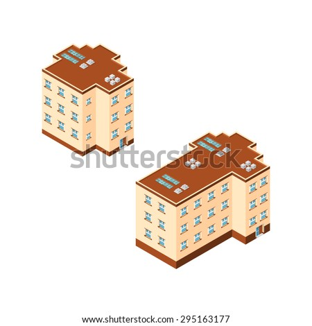 A vector illustration of modern apartment buildings. Apartment building Icon illustrations. Building Icons for housing. - stock vector