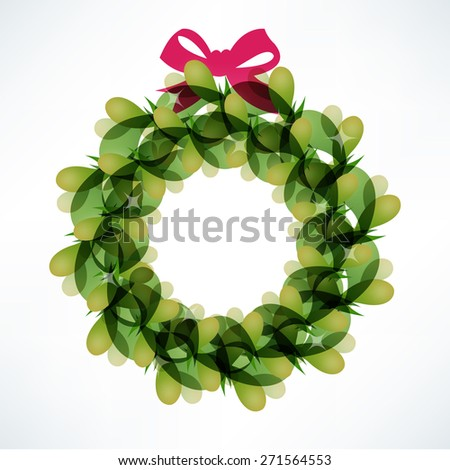 A vector illustration of modern color blend christmas wreath. - stock vector