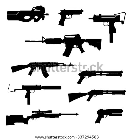 A vector illustration of modern firearms. Black Gun Silhouettes icon illustration. A set of contemporary ordnance. - stock vector