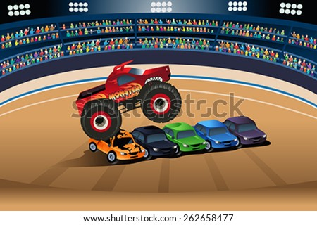A vector illustration of monster truck jumping on cars - stock vector