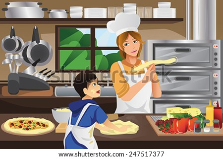 A vector illustration of mother and son preparing pizza dough together in the kitchen - stock vector