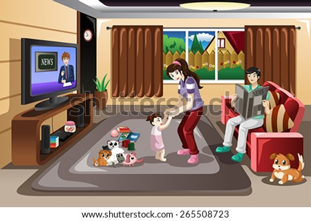 A vector illustration of mother helping her baby girl learning to walk - stock vector