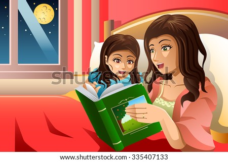 A vector illustration of mother telling a bedtime story to her daughter - stock vector