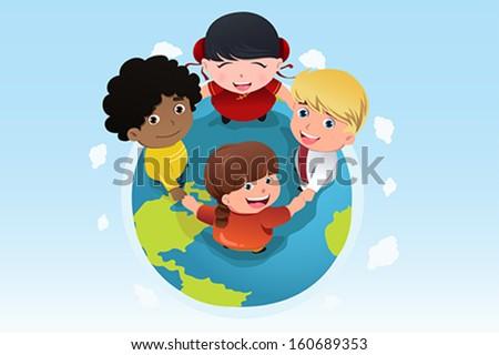 A vector illustration of multi ethnic children holding hands for diversity concept - stock vector